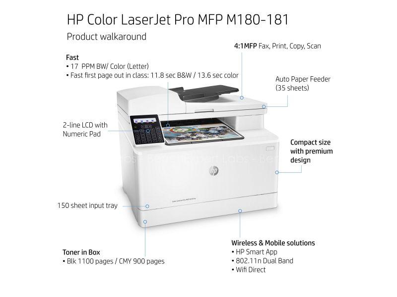 HP Color LaserJet Pro MFP M181fw Print Copy Scan Fax Wireless Printer